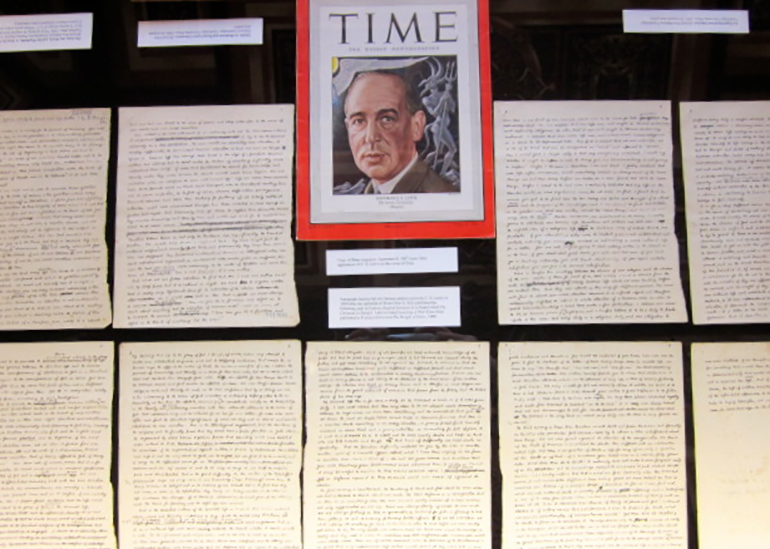 9-page manuscript of speech given in 1939 known as Learning in War-Time and copy of Time magazine, September 8, 1947, with C. S. Lewis on cover.