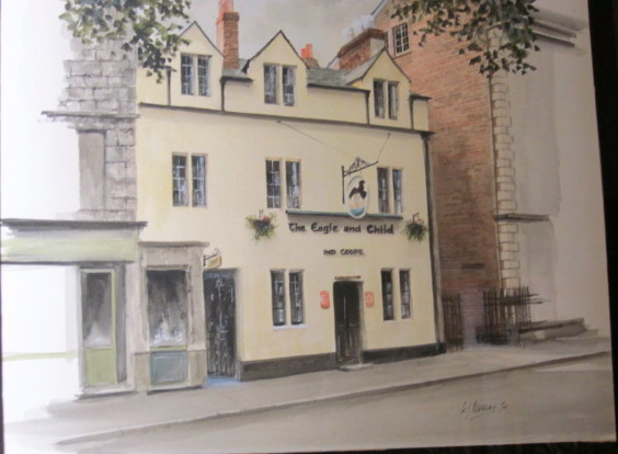 Original watercolor painting of The Eagle & Child — the Oxford pub where the Inklings met weekly for many years.