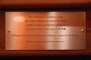Stone Tablets name plate